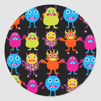 Funny Colorful Monster Party Creatures Characters Round Sticker