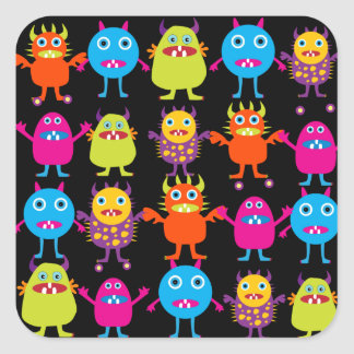 Funny Colorful Monster Party Creatures Characters Square Sticker