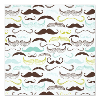"Funny Colorful Pattern for Mustache Lovers 5.25"" Square Invitation Card"
