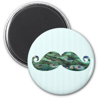 Funny  Colorful Peacock Feathers Mustache 2 Inch Round Magnet