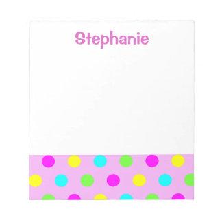 Funny Colorful Polka Dots Kids Name Notepad