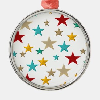 Funny, colorful stars metal ornament