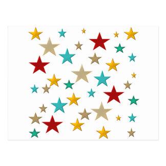 Funny, colorful stars postcard