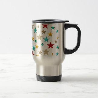 Funny, colorful stars travel mug