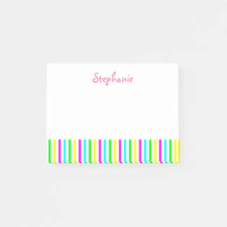 Funny Colorful Stripes Personalized Kids Name Post-it Notes