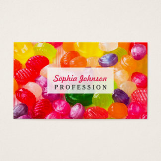 Funny Colorful Sweet Candies Food Lollipop Photo Business Card