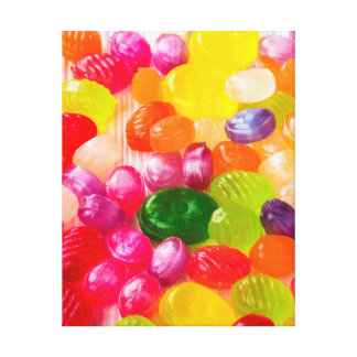 Funny Colorful Sweet Candies Food Lollipop Photo Canvas Print