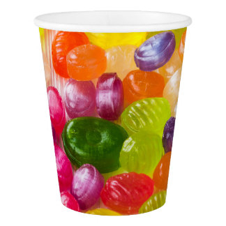 Funny Colorful Sweet Candies Food Lollipop Photo Paper Cup