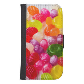 Funny Colorful Sweet Candies Food Lollipop Photo Samsung S4 Wallet Case
