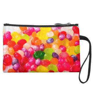 Funny Colorful Sweet Candies Food Lollipop Photo Suede Wristlet