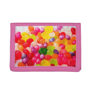 Funny Colorful Sweet Candies Food Lollipop Photo Trifold Wallets