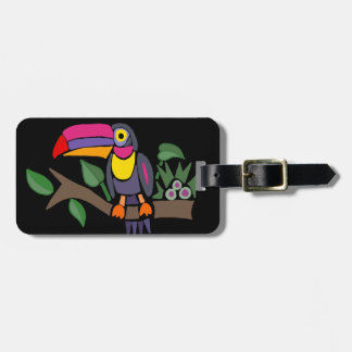Funny Colorful Toucan Bird Abstract Art Luggage Tag