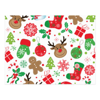 Funny Colourful Christmassy Pattern Postcard