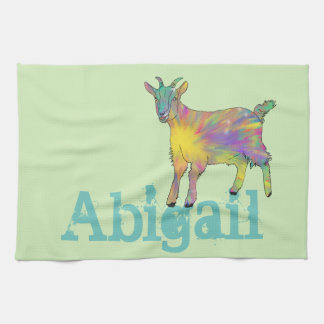 Funny Colourful Goat Animal Design Add Your Name Kitchen Towel