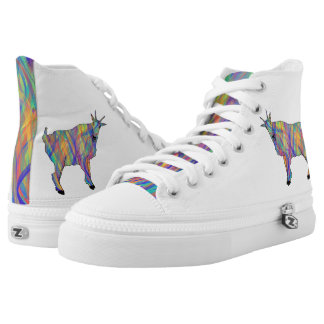Funny Colourful Goat Psychedelic Animal Art Design High Tops