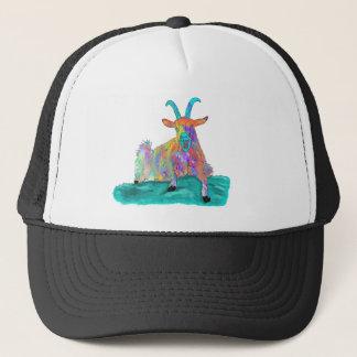 Funny Colourful Orange Screaming Goat Art Design Trucker Hat