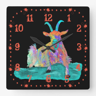 Funny Colourful Orange Screaming Goat Art Design Wallclock