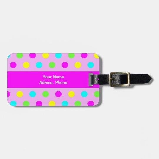 Funny Colourful Polka Dots - Address Luggage Tag