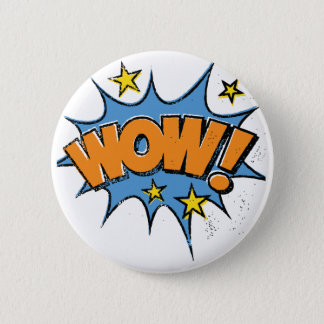 Funny Comic Cartoon Explosion with Nice WoW Text 2 Inch Round Button