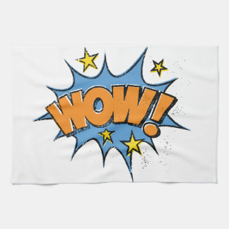 Funny Comic Cartoon Explosion with Nice WoW Text Hand Towels