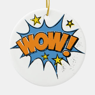 Funny Comic Cartoon Explosion with Nice WoW Text Round Ceramic Ornament