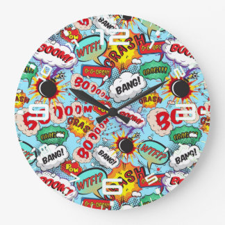 Funny Comic Pattern Large Clock