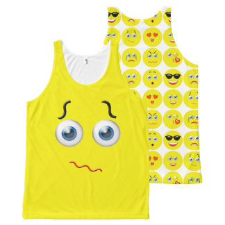 Funny Confused Emoji Yellow Pattern All-Over-Print Tank Top