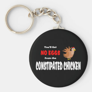Funny Constipated Chicken Basic Round Button Keychain