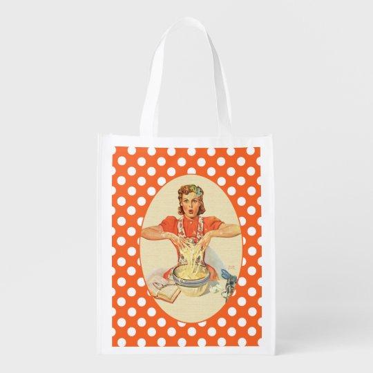 Funny Cook Polka Dot Grocery Bag