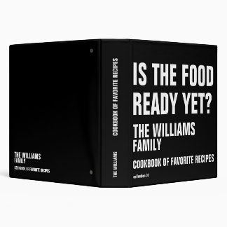 funny cookbook for family recipes  b/w 3 ring binders