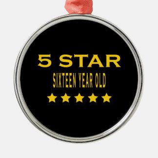 Funny Cool 16th Birthdays : Five Star Sixteen Christmas Ornament