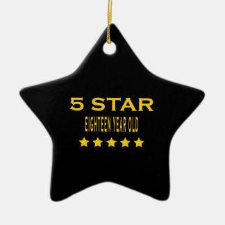 Funny Cool 18th Birthdays : Five Star Eighteen Ceramic Star Ornament