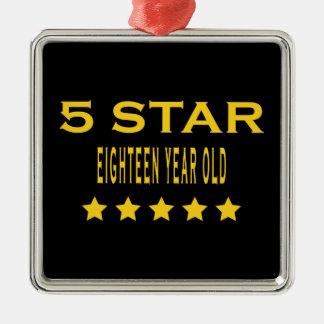Funny Cool 18th Birthdays : Five Star Eighteen Ornament