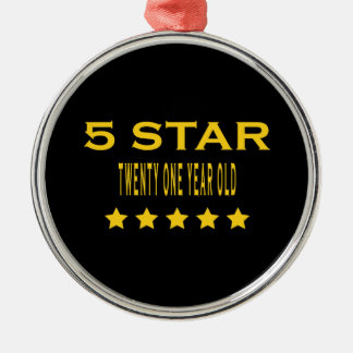 Funny Cool 21st Birthdays : Five Star Twenty One Christmas Tree Ornament