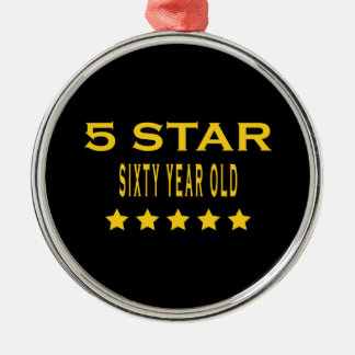 Funny Cool 60th Birthdays Five Star Sixty Year Old Christmas Tree Ornament