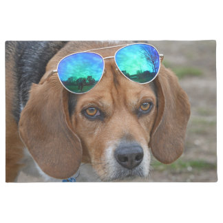 Funny Cool Beagle With Sunglasses On Head Doormat