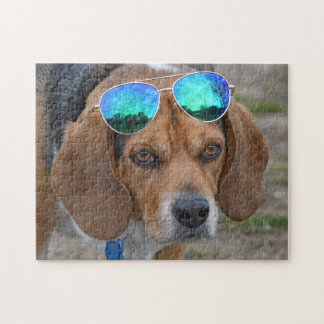 Funny Cool Beagle With Sunglasses On Head Jigsaw Puzzle