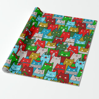 Funny Cool Christmas Cats Gold Red White Blue Wrapping Paper