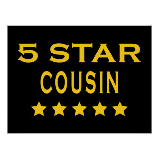 Funny Cool Cousins Five Star Cousin Print