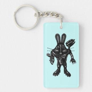 Funny cool cyborg bunny pen ink drawing art keychain