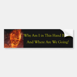 Funny Cool Flaming Skull To Hell In a Hand Basket Bumper Sticker