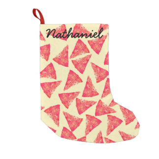 Funny Cool Funky Pizza Pattern Small Christmas Stocking