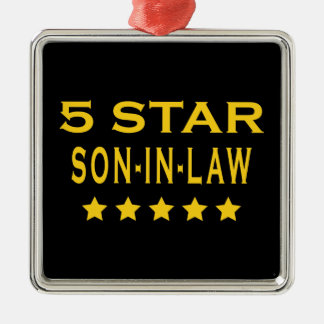 Funny Cool Gifts : Five Star Son in Law Silver-Colored Square Ornament