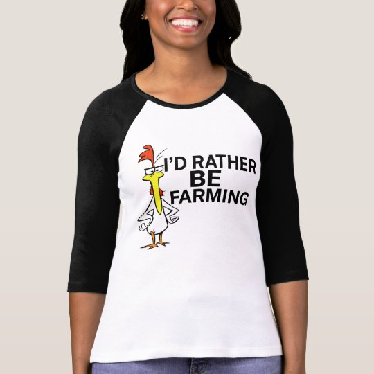 funny cool i'd rather be farming rude tshirt