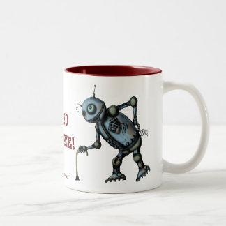 Funny cool old robot coffee mug design