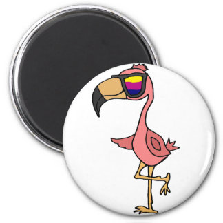 Funny Cool Pink Flamingo Bird with Sunglasses Magnet