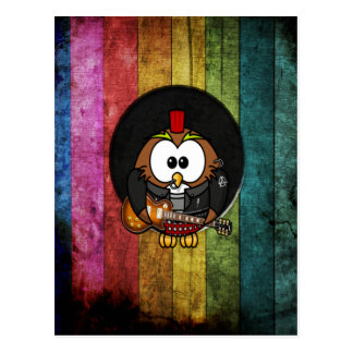 Funny cool rock&roll owl with piercings playing postcard
