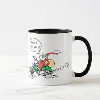 Funny Cool Yule Santa Riding Motorcycle Christmas Mug
