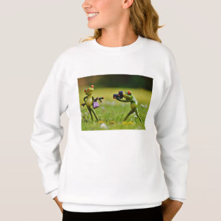 Funny couple of frogs taking photo sweatshirt