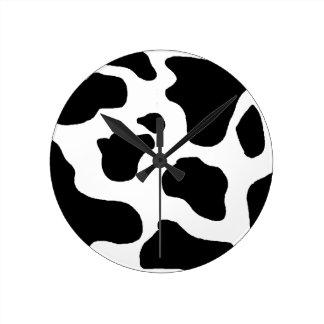 Funny Cow Animal Hide Pattern Black & White Clocks